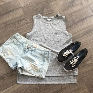 "A.n.d ""A new Day"" scoop neck tank ~gray ~ Small"